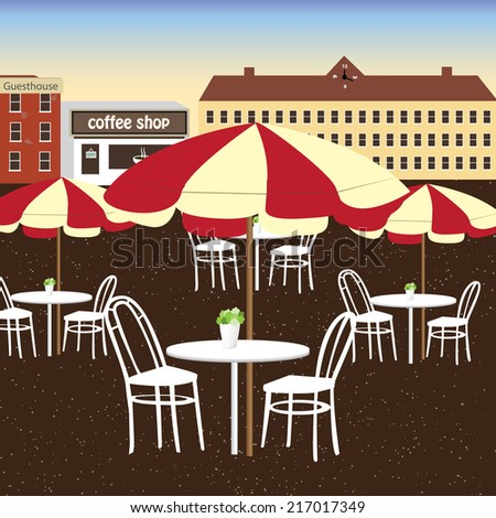 Many white dining table of coffee shop in the city.The place for people to chill out. - stock vector