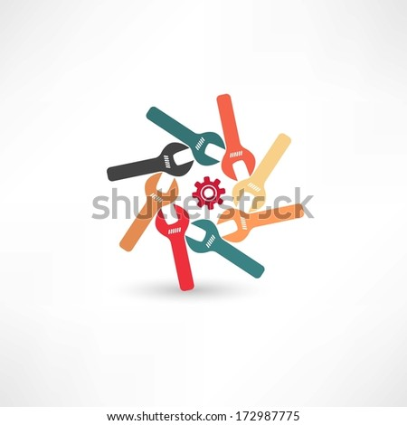 Many wrenches icon - stock vector