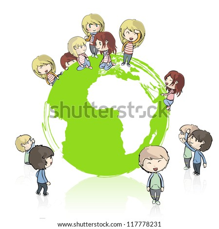 Many young friends around the planet. Vector design. - stock vector