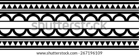 Maori / Polynesian Style bracelet tattoo black and white - stock vector