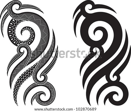 Maori styled tattoo pattern fits for a shoulder or an ankle. - stock vector