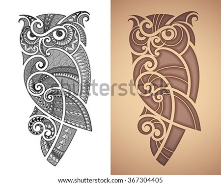 Maori styled tattoo pattern of owl. Fits for a shoulder or an ankle. Editable vector illustration. - stock vector