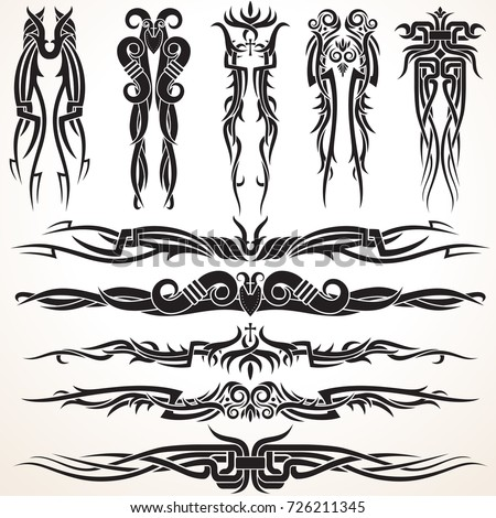 Maori Tribal Tattoo Design Elements. Set of different vector tribal ornaments in polynesian style