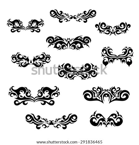 Maori tribal tattoo - Set of  different vector tribal tattoo in polynesian style. Celtic ornaments in traditional medieval style for ethnic embellishment and tattoo design. - stock vector