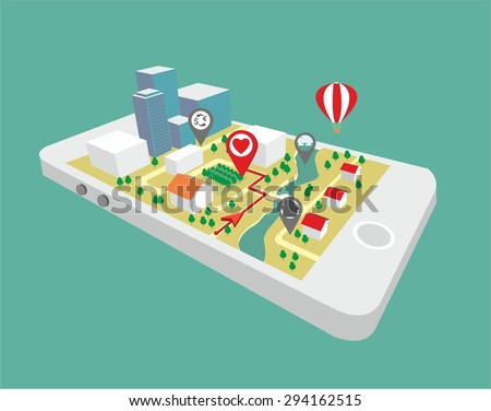 Map a small town on the mobile phone with the specified destination point. GPS route map. City navigation app. Vector illustration - stock vector