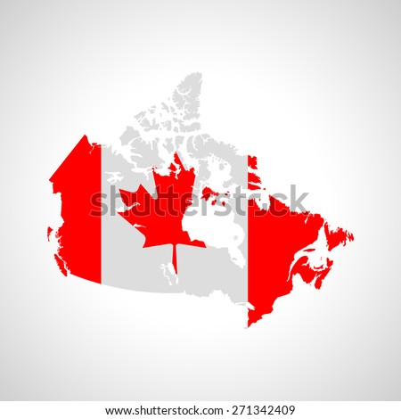 Map and flag of Canada - stock vector
