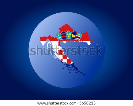 Map and flag of Croatia globe illustration