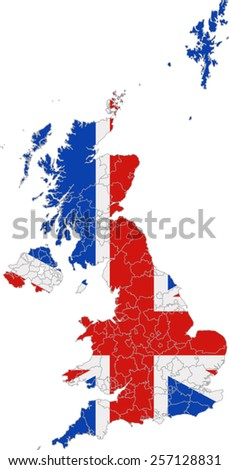 Map and flag of England - stock vector