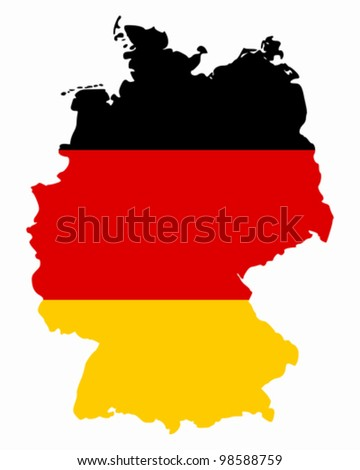 Map and flag of Germany - stock vector