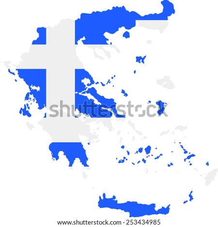 map and flag of Greece  - stock vector