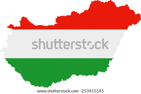 Map and flag of Hungary  - stock vector
