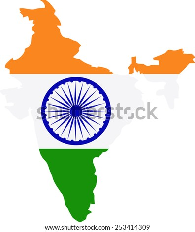 Map and flag of India - stock vector