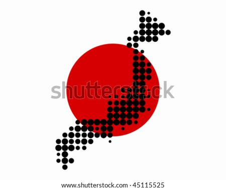 Map and flag of Japan - stock vector