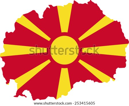 Map and flag of Macedonia  - stock vector