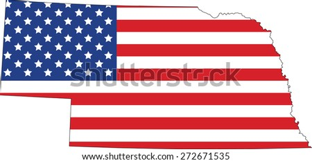Map and flag of Nebraska - stock vector