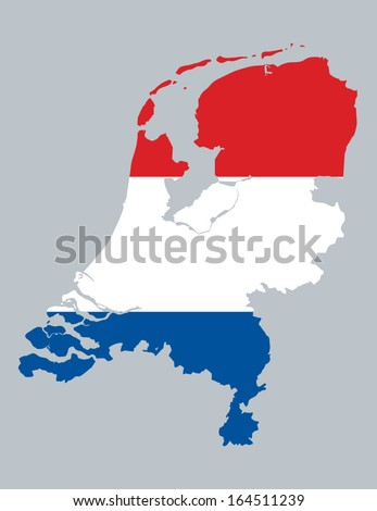 map and flag of Netherlands - stock vector