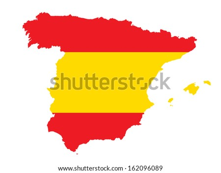 map and flag of Spain