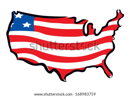 map and flag of USA - stock vector