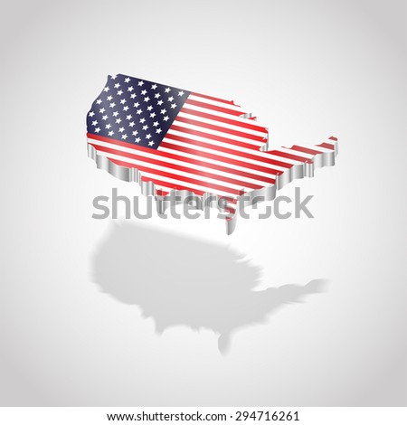 Map and flag of USA isolated. Illustration vector