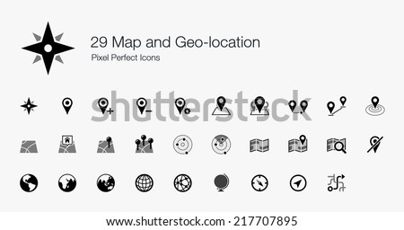 Map and Geo-location Pixel Perfect Icons - stock vector