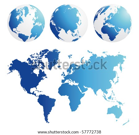 map and globe kit blue - stock vector