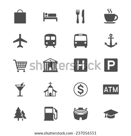 Map and location flat icons - stock vector