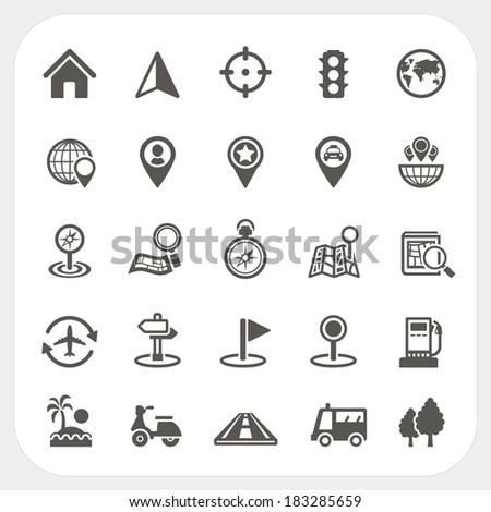 Map and Location icons set - stock vector