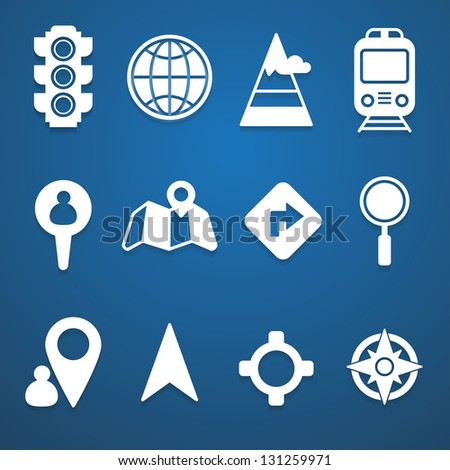 Map and location icons set white - stock vector