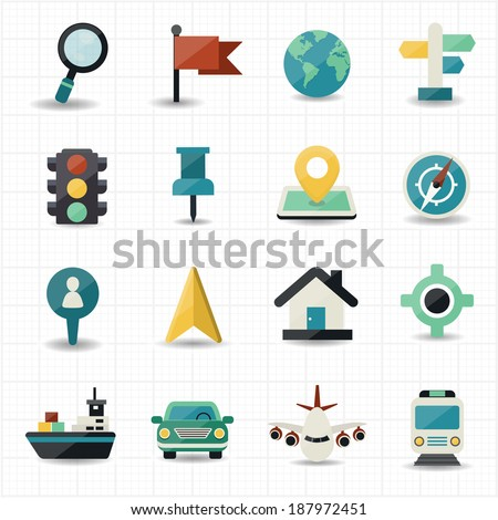 Map and location navigator icons - stock vector