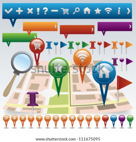 Map and Navigation icon set - stock vector