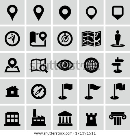 Map and navigation icons - stock vector