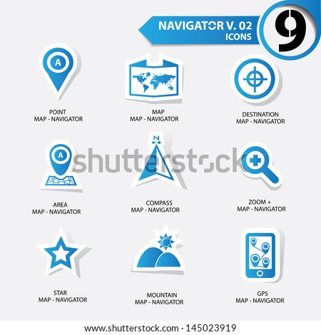 Map and Navigator icons set 2,Blue version - stock vector