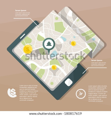 map  and phone infographic - stock vector