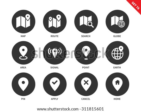 Map and places vector icons set. Navigation and direction concept. Tourism and cartography items. Icons for GPS, maps, route, search, area, point, home, signal. Isolated on white background - stock vector