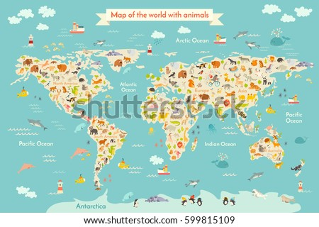 Animals world map children kids animals stock vector 338165603 map animal for kid continent of world animated childs map vector illustration animals gumiabroncs Choice Image