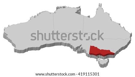 Map - Australia, Victoria - 3D-Illustration - stock vector