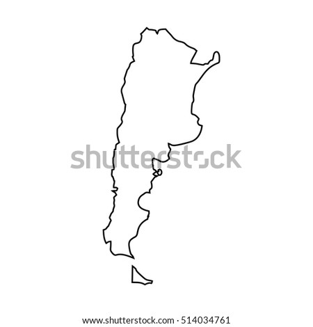 Map Black Outline Argentina Stock Vector Shutterstock - Argentina map black and white