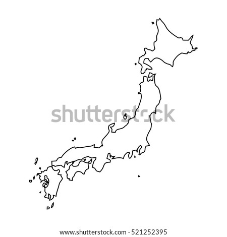 Japan Outlinestroke Map Administrative Division Vector Stock - Japan map outline