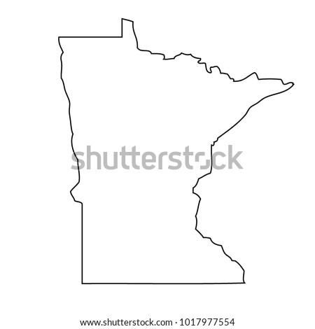Delightful Map Black Outline State USA   Minnesota