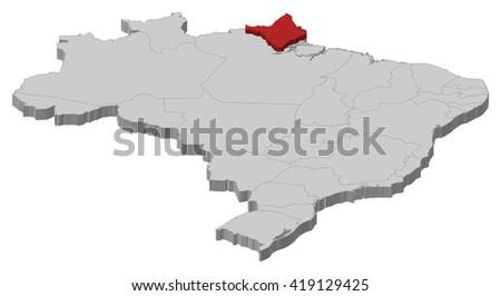 Map - Brazil, Amapa - 3D-Illustration - stock vector