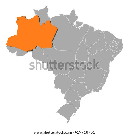 Map - Brazil, Amazonas - stock vector
