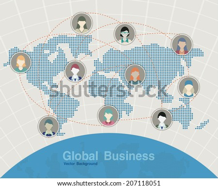 Map business world map in the background. - stock vector