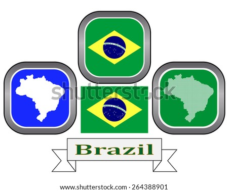 map button and flag of Brazil symbol on a white background  - stock vector