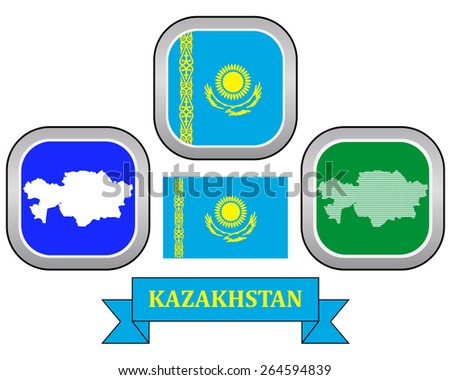 map button and flag of Kazakhstan symbol on a white background - stock vector