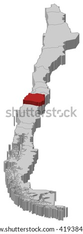 Map - Chile, Maule - 3D-Illustration - stock vector