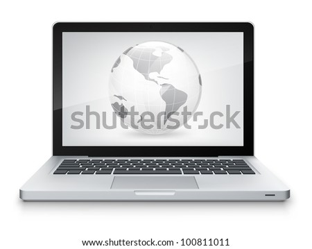 Map Concept. Laptop on Grey Gradient Background. Vector. - stock vector