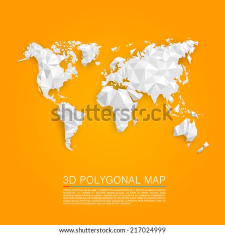 Map 3d polygon. Vector illustration - stock vector
