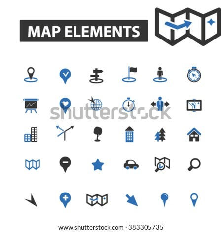 map elements icons - stock vector