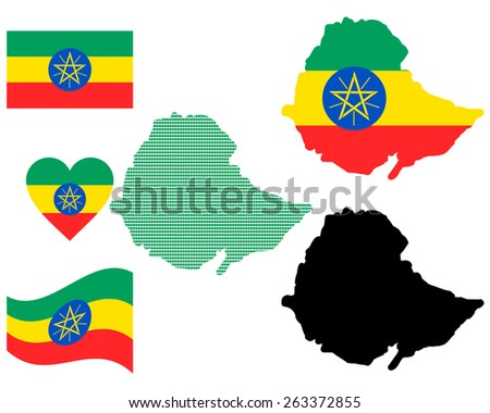 map flag and symbol of Ethiopia on a white background - stock vector