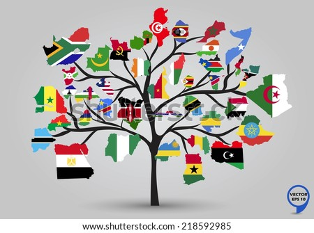 Map flags of Africa in tree design. Vector illustration. - stock vector